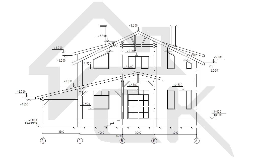 Чертеж фасада жилого дома
